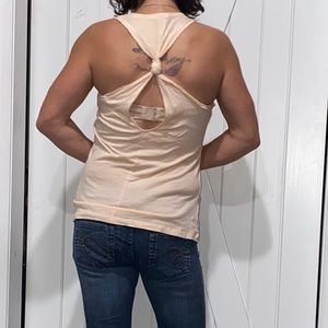 Ambiance Cream Knotted Back Racerback Tank